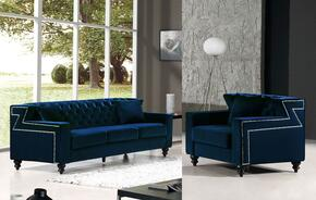 Harley Collection 6162PCARMKIT1 2-Piece Living Room Sets with Stationary Sofa, and Living Room Chair in Navy