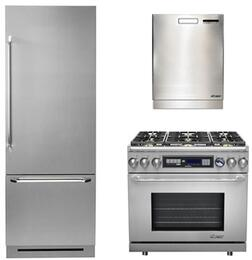 """3-Piece Stainless Steel Kitchen Package with DYF30BFBSR 30"""" Bottom Freezer Refrigerator, ER36DCLP 36"""" Dual Fuel Range, and a free RDW24S 24"""" Built In Fully Integrated Dishwasher"""