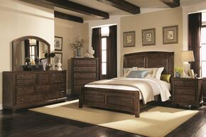 Laughton Collection 203260QSET 5 PC Bedroom Set with Queen Size Bed + Dresser + Mirror + Chest + Nightstand in Rustic Brown Finish