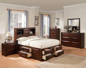 Manhattan 04070Q6PC Bedroom Set with Queen Size Bed + Dresser + Mirror + Chest + 2 Nightstands in Espresso Finish