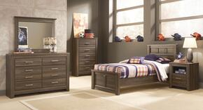 Juararo Twin Bedroom Set with Panel Bed, Dresser and Mirror in Aged Brown