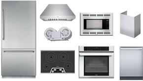 9-Piece Kitchen Package with T36BB820SS Refrigerator, CEM304NS Cooktop, CEM304NS Wall Oven, MBES Microwave, MBT30JS Trim Kit, DWHD440MFM Dishwasher, HPCN36NS Hood, CHMHP36TSN Chimney Extension and VTN1080N Internal Blower in Stainless Steel