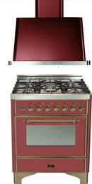 """2-Piece Burgundy Kitchen Package with UM76DMPRBY 30"""" Freestanding Dual Fuel Range (Oiled Bronze Trim, 5 Burners, Timer) and UAM76RB 30"""" Wall Mount Range Hood"""