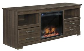 "Frantin W12968SET T.V. Stand Set with 64"" Wide LG T.V. Stand  and LED Fireplace Insert in Brown Finish"