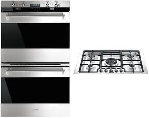 "Classic 2-Piece Stainless Steel Kitchen Package with DOU330X1 30"" Double Wall Oven and PGFU30X 30"" Gas Cooktop"