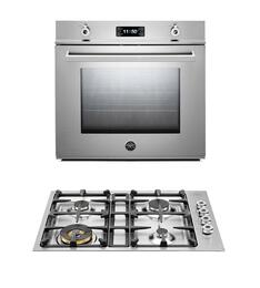 "Professional F30PROXT 30"" Single Electric Wall Oven 2 Piece Stainless Steel Kitchen Package with QB30400X 30"" Gas Cooktop"