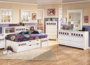 Zayley Twin Bedroom Set with Bedside Storage Bed, Dresser and Mirror in White
