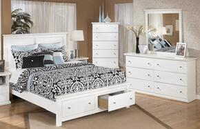 Melton Collection Queen Bedroom Set with Storage Platform Bed, Dresser, Mirror and Chest in White