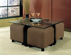 Cermak 700026M 5 PC Living Room Set with Cocktail Table + 4 Mocha Colored Ottomans in Black Color