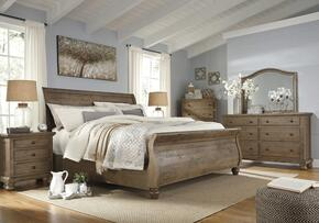 Goodwin Collection King Bedroom Set with Sleigh Bed, Dresser, Mirror and Nightstand in Light Brown