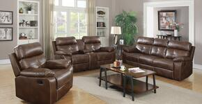 Damiano 601691SLC 3 PC Living Room Set with Reclining Sofa + Reclining Loveseat + Glider Recliner in Brown Color