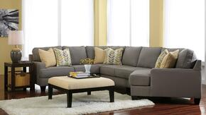 Peyton Collection MI-58594RCDSSACO2ETR2L-ALLO 7-Piece Living Room Set with 4PC Right Cuddler Sectional, Accent Ottoman, 2 End Tables, Rug and 2 Lamps in Alloy