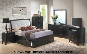 G1250FQSB2NTV 3 Piece Set including Queen Size Storage Bed, Nightstand and Media Chest  in Black
