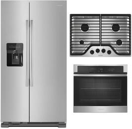 "3 Piece Kitchen Package With AGR6303MFS 30"" Gas Range, AFI2539ERM 36"" French Door Refrigerator and AWO6317SFS 30"" Single Wall Oven In Stainless Steel"