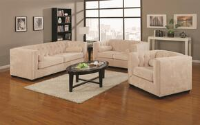 Alexis 504391SET 3 PC Living Room Set with Sofa + Loveseat + Chair in Almond Color