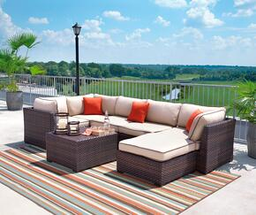 Renway Collection P450-077-846-877 7-Piece Outdoor Patio Sectional Sofa Set with 3 Corner Chairs, 2 Armless Chairs, 1 Ottoman and 1 Cocktail Table in Beige and Brown