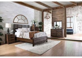 Hankinson Collection CM7576QBDMCN 5-Piece Bedroom Set with Queen Bed, Dresser, Mirror, Chest and Nightstand in Rustic Natural Tone Finish