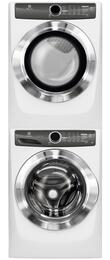 "White Front Load Laundry Pair with EFLS517SIW 27"" Washer, EFMG517SIW 27"" Gas Dryer and STACKIT7X Stacking Kit"