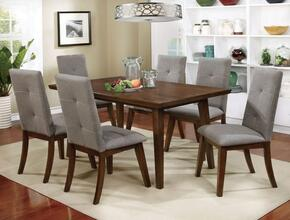 Abelone Collection CM3354T6SC 7-Piece Dining Room Set with Rectangular Table and 6 Side Chairs in Walnut