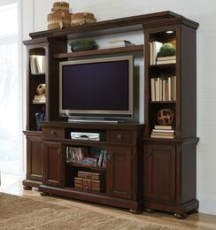 "Porter W697SMWALL Entertianment Center with 54"" Wide Large TV Stand, Left Pier, Right Pier and Bridge with Shelf in Rustic Brown Finish"