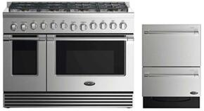 "2 Piece Stainless Steel Kitchen Package With RDV2488L 48"" Gas Freestanding Range and Free DD24DV2T7 24"" Drawers Dishwasher"