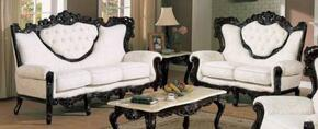 702WHITES2SET Traditional  2 Piece Livingroom Set, Sofa and Loveseat in White with Jacquard Fabric