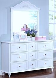 "05-242-052-05-242-062 Megan Youth 58"" Dresser with Mirror, Nine Drawers, Tapered Legs, Detailed Molding and Simple Pulls, in White"