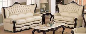 988IVORYS2SET Traditional 2 Piece Livingroom Set, Sofa and Loveseat in Ivory with Mahogany Wood Finish