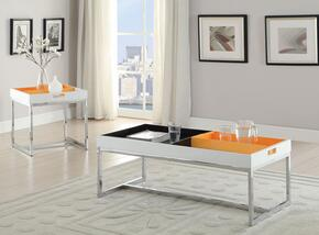 Maisie 80435CET 2 PC Living Room Table Set with Coffee Table + End Table in White Color