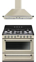 "Victoria 2-Piece Cream Kitchen Package with TRU90P 36"" Dual Fuel Range and KT90PU 36"" Wall Mount Chimney Range Hood"