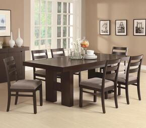 Dabny 103101SET 7 PC Dining Room Set with Table + 6 Side Chairs in Cappuccino Finish