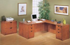 KIT2N101C Desk Shell Complete with Reversible Return, Pedestal Box File, and 2 Drawer Lateral File in Cherry Finish