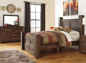 Quinden Queen Bedroom Set with Poster Storage Bed, Dresser and Mirror in Dark Brown Finish