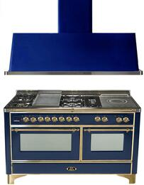 "2-Piece Midnight Blue Kitchen Package with UM150FSDMPBL 60"" Freestanding Dual Fuel Range (Brass Trim, 5 Burners, French Cooktop) and UAM150BL 60"" Wall Mount Range Hood"