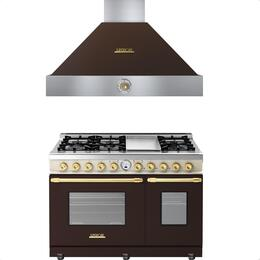 2-Piece Brown and Cream Matte with Gold Accent Kitchen Package with RD482SCMCG 48