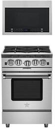 "2-Piece Kitchen Package with BSP244B 24"" Freestanding Gas Range and HMV1472BHS 24"" Over the Range Microwave Oven in Stainless Steel"