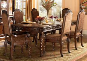 D5533502 North Shore Rectangular Extension Table with Four Side Chairs, Large Scale Decorative Pilasters and Hardwood Solids in Opulent Brown