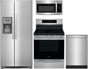"4-Piece Stainless Steel Kitchen Package with FFSC2323TS 36"" Side by Side Refrigerator, FFIF3054TS 30"" Freestanding Electric Range, FFMV1645TS 30"" Over the Range Microwave, and FFID2426TS 24"" Fully Integrated Dishwasher"