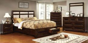 Orlaith Collection CM7697QBEDSET 5 PC Bedroom Set with Queen Size Panel Bed + Dresser + Mirror + Chet + Nightstand in Walnut Finish