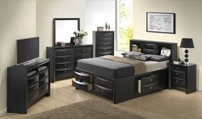 G1500GTSB3CHDMNTV 6 Piece Set including Twin Size Bed, Chest, Dresser, Mirror, Nightstand and Media Chest  in Black