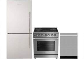 "3-Piece Kitchen Package with BRFB1812SSLN 30"" Counter Depth Bottom Freezer Refrigerator, BDFP34550SS 30"" Freestanding Dual Fuel Range, and a free DWT57500SS 24"" Built In Fully Integrated Dishwasher in Stainless Steel"