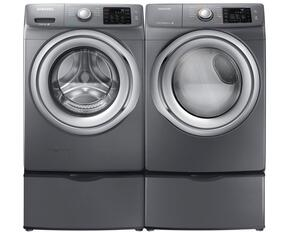"Stainless Platinum Front Load Laundry Pair with WF42H5200AP 27"" Washer, DV42H5200EP 27"" Electric Dryer and 2 WE357A0P Pedestals"