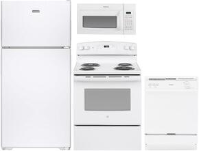 "4-Piece White Kitchen Package with HPS15BTHRWW 28"" Right-Hinged Top Freezer Refrigerator, RB526DHWW 30"" Freestanding Electric Range, HDA3600HWW 24"" Full Console Dishwasher and RVM5160DHWW 30"" Over-The-Range Microwave"