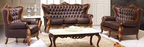 995ESPRESSOS3SET Traditional 3 Piece Livingroom Set, Sofa and Loveseat in Espresso with Natural Walnut Finish