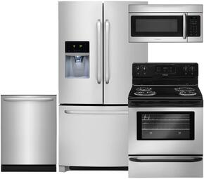 "4-Piece Stainless Steel Kitchen Package with FFHB2740PS 36"" French Door Refrigerator, FFEF3015LS 30"" Electric Range, FFID2426TS 24"" Fully Integrated Dishwasher and FFMV164LS 30"" Over-the-Range Microwave"