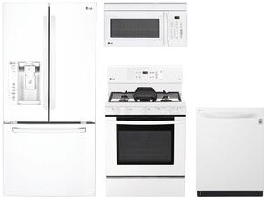 "4-Piece Kitchen Package with LFXS24623W 33"" French Door Refrigerator, LRG3193SW 30"" Freestanding Gas Range, LMV1762SW 30"" Over the Range Microwave Oven, and LDP6797WW 24"" Built In Fully Integrated Dishwasher in White"