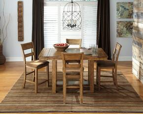 Regine Collection 5-Piece Dining Room Set with Dining Room Counter Table and 4 Barstools in Light Brown