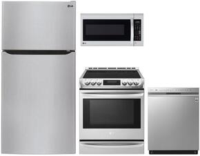 "4-Piece Stainless Steel Kitchen Package with LTCS24223S 33"" Top Freezer Refrigerator, LDG4311ST 30"" Freestanding Double Oven Gas Range, LDF7774ST 24"" Fully-Integrated Dishwasher and LMV2031ST 30"" Over-the-Range Microwave"