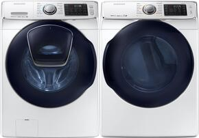 "White Front Load Laundry Pair with WF45K6500AW 27"" Washer and DV45K6500GW 27"" Gas Dryer"