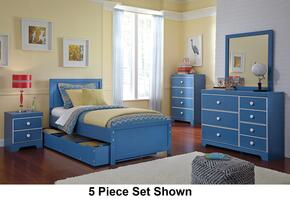 Bronilly Twin Bedroom Set with Panel Storage Bed, Dresser, Mirror and Night Stand in Blue